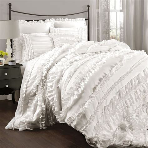 chic ruffles white queen comforter set country cottage ruffled bedding ebay
