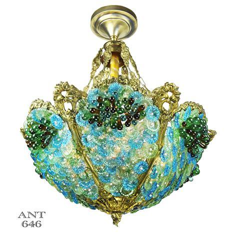 glass bead chandelier antique bohemian bowl chandelier blue green glass bead
