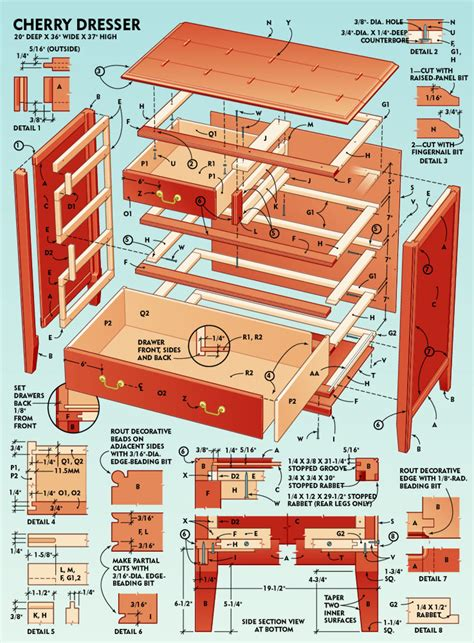 plans to build pdf diy 6 drawer dresser plans download 3d woodworking