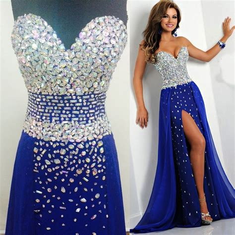 Tidetells Strapless Royal Blue Luxury Formal Long Prom Dresses Crystals Chiffon Evening Gowns