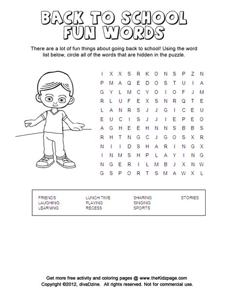 coloring pages school activities back to school fun word search puzzle printable