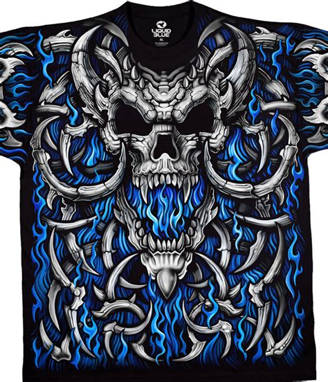Tshirt Metallica Logo Tribal skulls blue skull black t shirt liquid blue