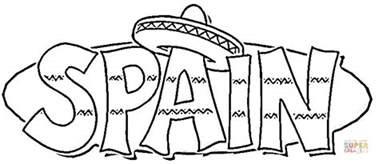 kolorowanka sombrero na napisie hiszpania spain