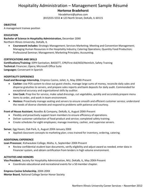 Download Hospitality Resume Templates For Free Formtemplate Hospitality Resume Template