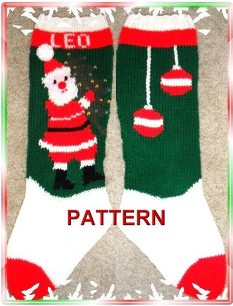 Knitting Pattern For Christmas Tree Stocking | santa and tree christmas stocking knitting by theloopyknitter