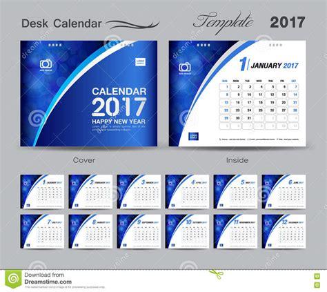 set blue desk calendar 2017 template design cover desk