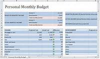 Personal Monthly Budget Template  Spreadsheet
