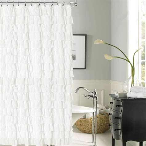 white ruffled shower curtain venezia white ruffled shower curtain