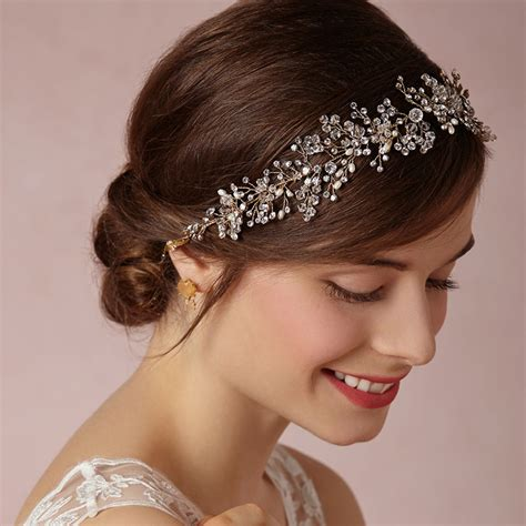 Wedding Hair Accessories Headbands by Gold Silver Handmade Rhinestone Bridal Headband Wedding