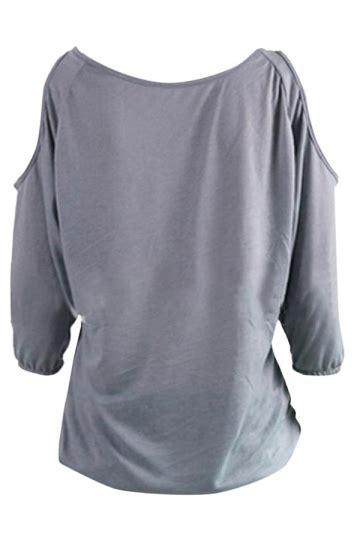 Blouse Atasan Tunik Import Gray Stripe V Neck Size L 306138 womens v neck 3 4 length sleeve cold shoulder blouse gray pink