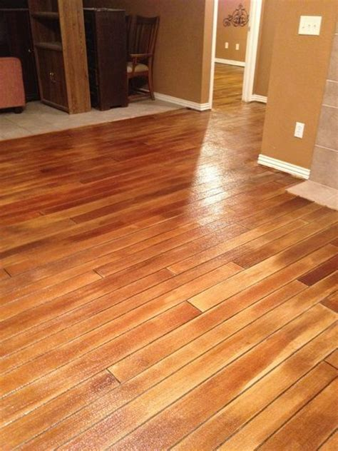Hardwood Floor On Concrete Stained Concrete Quot Wood Quot Floors Home Deocr Pinterest