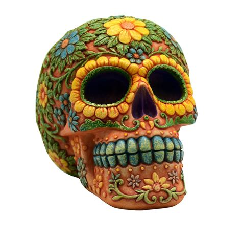orange day of the dead sugar skull coin bank mexican dia