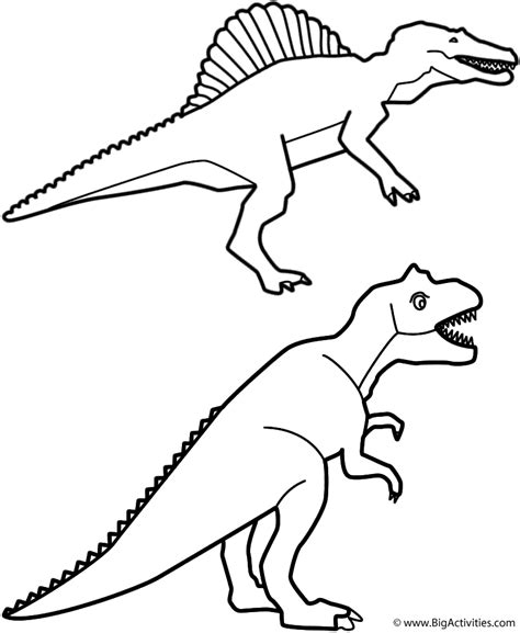 happy birthday dinosaur coloring page spinosaurus and t rex coloring page birthday
