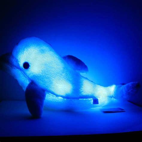 Plush Colorful Led Light Blue Dolphin Shape Throw Pillow Pillow Pet Light Up Ceiling