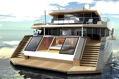 Open Concept Living Room Dining Room Kitchen luxury superyacht shaped like catamaran boasts gymnasium