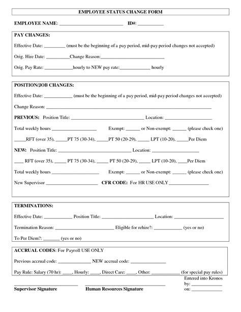 employee change form template best photos of employee paid in form template paid