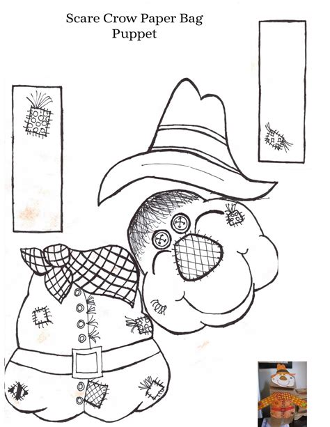 Paper Bag Scarecrow Craft For Preschoolers - free puppet templates coloring pages