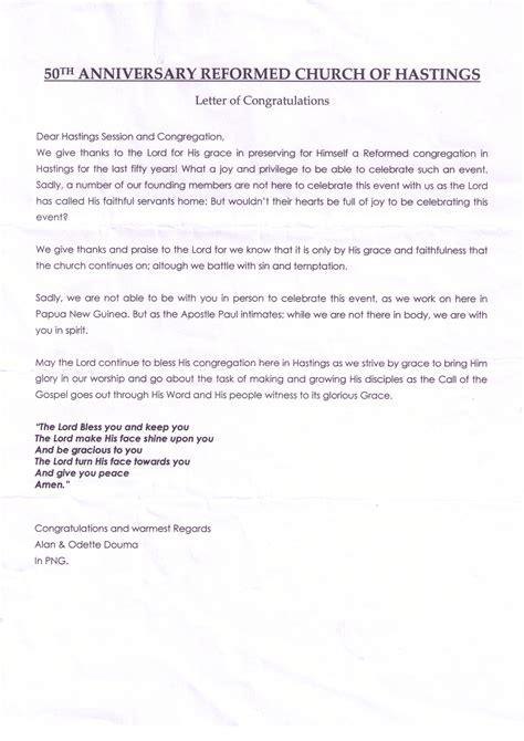Service Milestone Letter Letters Of Congratulations 50th Anniversary