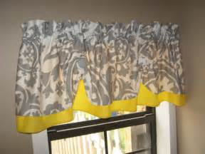 Yellow And Gray Kitchen Curtains Valance Window Curtain Swagged Swag Custom Made By Countryruffles