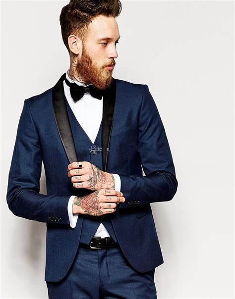 Groom Tuxedo Men's Suit Navy Blue Groomsman Bridegroom