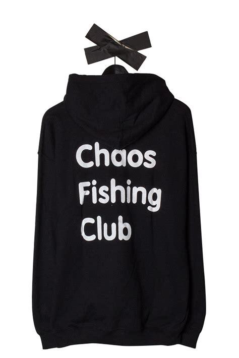 chaos fishing club logo hoodie black bonkers shop