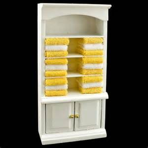 white bathroom cabinet yellow towel dollhouse furniture