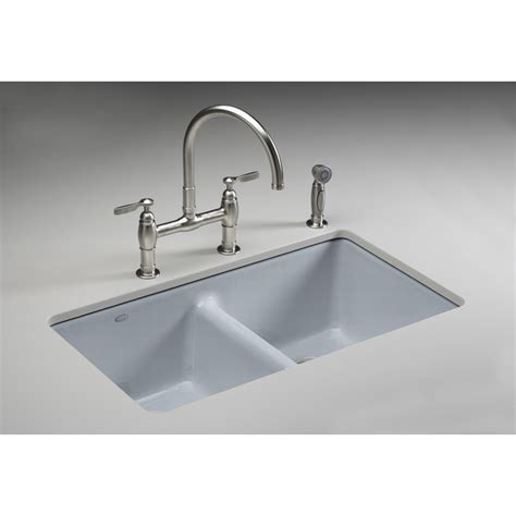 Sinks Kitchen Undermount Shop Kohler Anthem Basin Undermount Enameled Cast Iron Kitchen Sink At Lowes