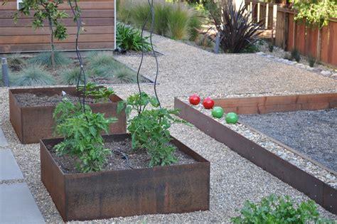 corten steel planters landscape contemporary with none