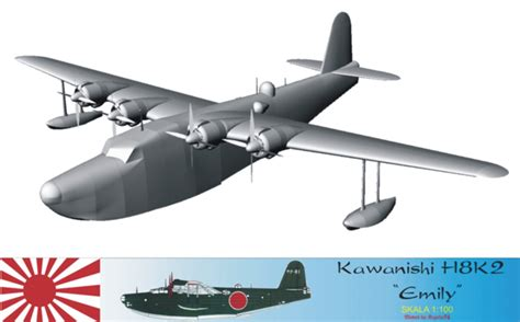 kawanishi flying boat kawanishi h8k2 emily 3d by krzychu74 on deviantart