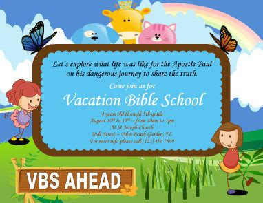 cartoon vacation bible school flyer template cat
