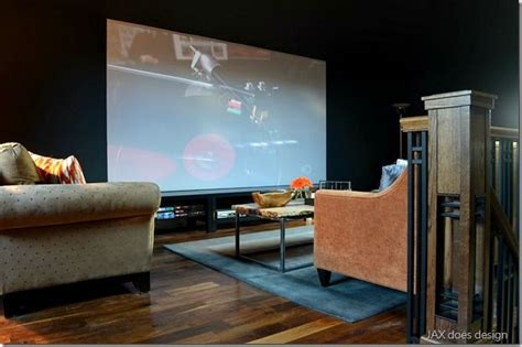 cozy home theater room navy blue walls ceiling