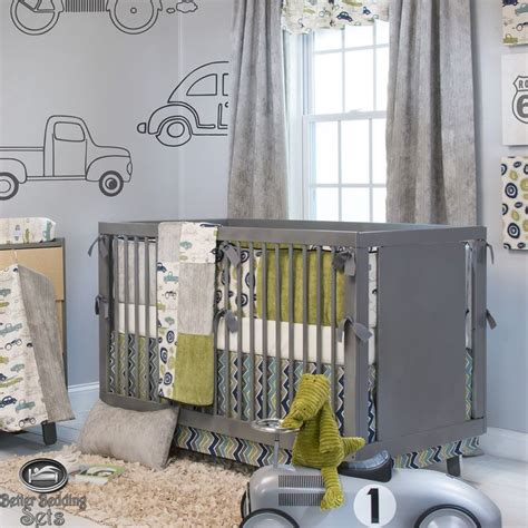 Baby Boy Grey Vintage Car Truck Route 66 Crib Nursery Unique Baby Boy Crib Sets