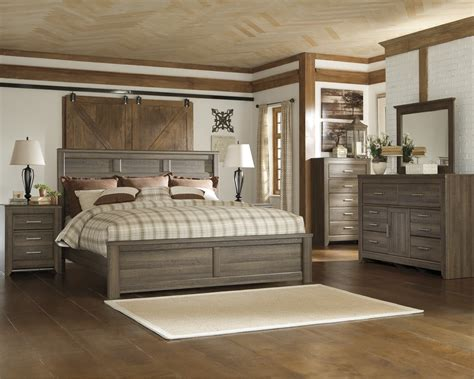 king bed bedroom set juararo collection 5 piece aged brown sawn finish king panel bed bedroom set