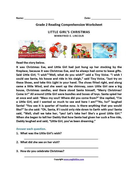 grade 2 reading comprehension christmas lovely printable reading comprehension test downloadtarget