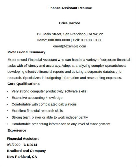 Sle Resume For Financial Administrative Assistant Finance Assistant Resume Template 28 Images Printable Accountant Resume Templates 28 Free
