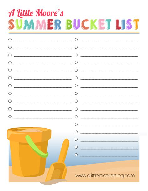 make your own printable to do list create your own summer bucket list printable a little moore