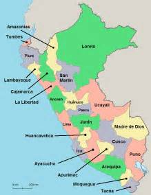 Above the regional map of peru is clickable and each corresponding