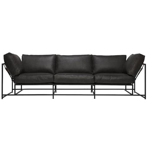 Steel Frame Sofa by Smoke Leather And Blackened Steel Sofa For Sale At 1stdibs