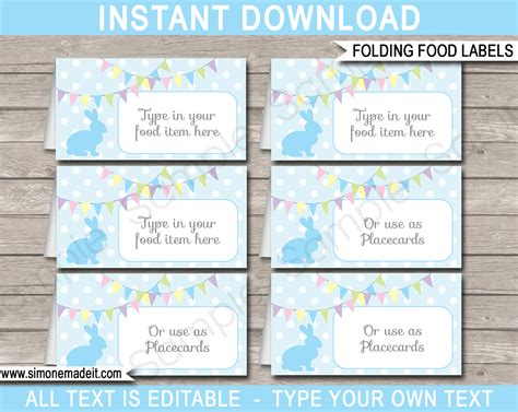 free food card templates easter food labels place cards easter theme