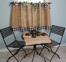 Window Treatments For A Bow Window burlap and gingham cafe curtains
