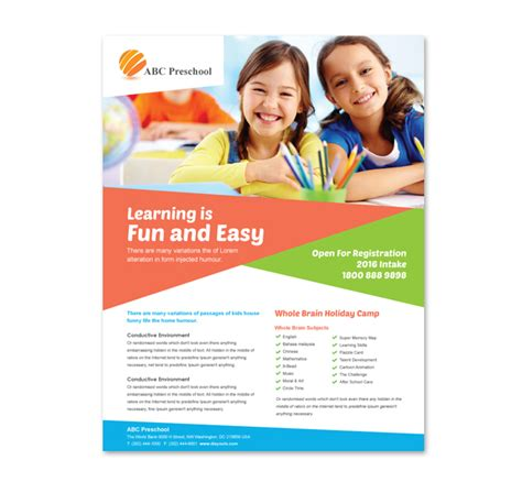educational handout template preschool education flyer template