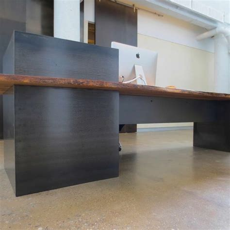 Industrial Reception Desk Made Metal Modern Industrial Plate Steel Reception Desk With Maple Live Edge Slab Top
