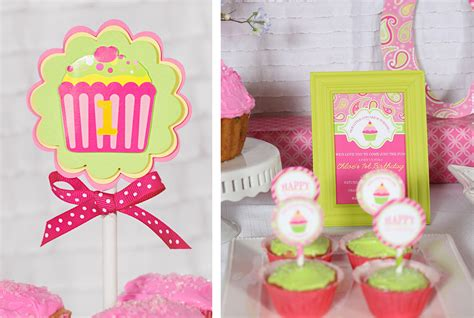 cupcake themed decorations a cupcake themed 1st birthday with paisley and polka