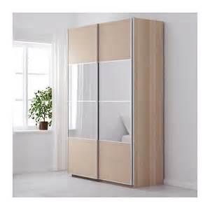 Mirror Sliding Closet Doors Ikea Ikea Pax 150x236cm Wardrobe White Stained Oak Auli Mirror Ilseng Sliding Doors In Newport