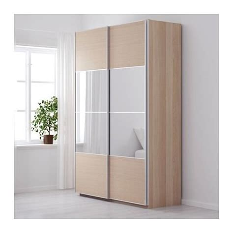 mirrored wardrobe sliding doors ikea ikea pax 150x236cm wardrobe white stained oak auli mirror