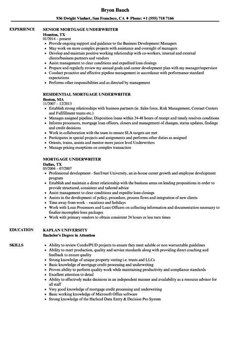 Sle Resume For Underwriter Position mortgage underwriter resume exle photos