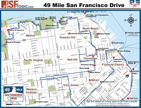 san francisco hotels map downtown scenic 49 mile drive