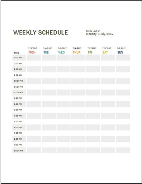 weekly work schedule template daily work log templates for ms word excel word