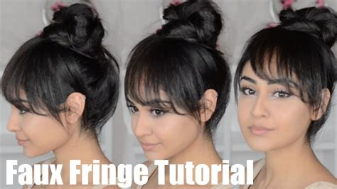how to create fake bang tutorial kendall jenner inspired faux fringe updo youtube