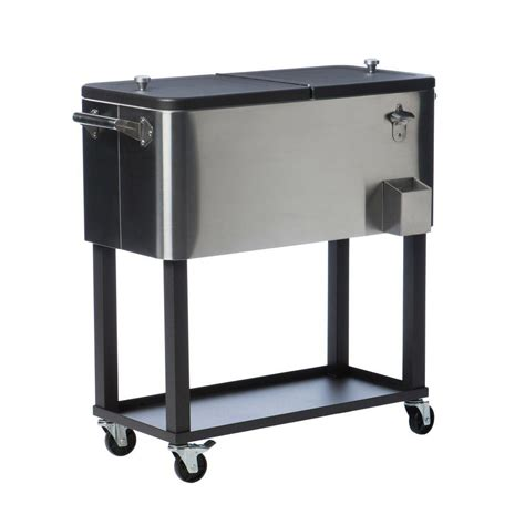 Patio Cooler Cart Trinity 80 Qt 20 Gal Stainless Steel Standing Wheeled